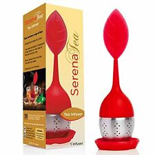 SerenaTea Red Tea Infuser Food Grade Silicone BPA Free Stainless Steel Strainer