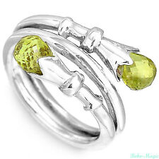 Sterling Silver 925 Ring Solid Peridot Gemstone Warp Handmade Band Size