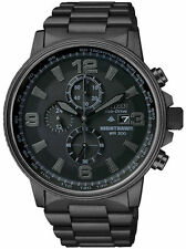 NEW Citizen CA0295-58E Men's NightHawk EcoDrive Chrono Black Ion-Plated Watch