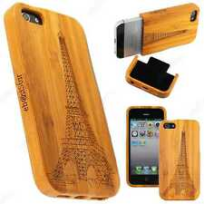 Accessoire Coque Etui Housse Rigide Bois Bambou Grave Tour Eiffel iPhone 5 5S