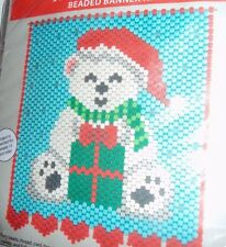 """A Gift For You Christmas Teddy Craft Pony Beaded Banner Kit 11.5"""" x 13"""""""