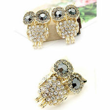 1Pair Fashion Women's Jewelry Cute Rhinestone Crystal Owl Gold Earrings Ear Stud