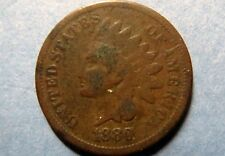1880  Antique INDIAN HEAD BRONZE CENT Circulated Philadelphia Mint Nice Details