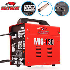 HAWK 130 PORTABLE 230V NO GAS GASLESS MIG FLUX WELDING MASK WELDER MACHINE KIT