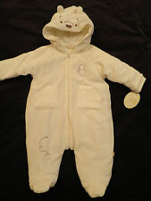 NEW Classic Winnie Pooh Onepeice Off White Snowsuit Hood Bunting Baby Girl 6 mo
