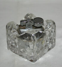Vintage Table Lighter Lead Crystal 2 Piece Square Holder Mid Century Modern 1960