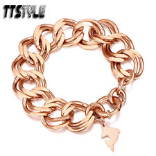 Womens TTstyle Rose Gold Tone Stainless Steel Double Link Clasp dolphi Bracelet