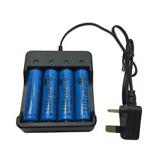 4X 18650 3800mAh Batteries 3.7V Li-ion Rechargeable Battery + 4.2V UK Charger