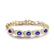 """Exclusive chain! 18k gold filled blue Sapphire white Topaz accent bracelet 8.2"""""""
