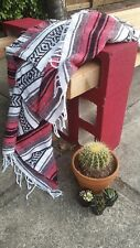 #11 Pink Gray  Mexican Falsa Blanket Great Beach Picnic Yoga Open Road Bed Throw