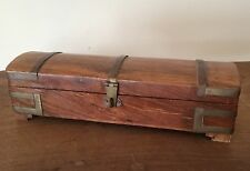 Solid Wooden Hinged Lid Box Treasure Chest Design Vintage Collectable VGC