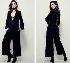 NEW FREE PEOPLE $148 BLACK HOLD TIGHT LONG SLEEVE WIDE LEG JUMPSUIT SZ XS