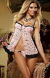 SEDUCTIVE LINGERIE IN PINK AND BLACK LACEY DESIGN .BABYDOLL. CHEMISE.ONE SIZE.
