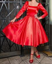 NWT Pinup Couture Margaret Red Satin Full Skirt 3/4 Sleeve Retro 50s Dress 3X