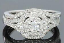 10K WHITE GOLD .93 CARAT WOMENS REAL DIAMOND ENGAGEMENT RING WEDDING BAND SET