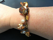Design Six Beaded Brown & Golden Yellow Bracelet Fully Adjustable BNWOT