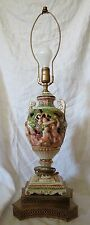 Vintage Large Brass Ceramic Capodimonte Ornate Urn Lamp handpainted cherubs majo