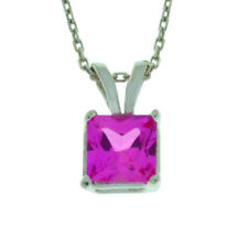 1 Ct Pink Sapphire 6mm Princess Cut Pendant .925 Sterling Silver