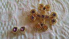 SPECIAL Vintage Set Clip Earrings Pendant Brooch Pin Maltese Cross Purple DIOR