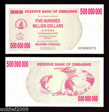 Zimbabwe 500 Million Dollars 2008  P-60  UNC