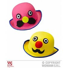 Pink / Yellow Felt Mr. Moustache Bowler Hat for Circus Clown Fancy Dress Accesso