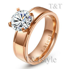 TTstyle 6mm Stainless Steel Engagement Wedding Band Ring With 8mm CZ