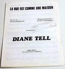 Partition vintage sheet music DIANE TELL : La Rue est Comme * 80's Promo