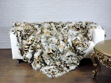 LUXURY, REAL FOX  THROW, BLANKET LEOPARD PATTERN 220 X 205CM  i751