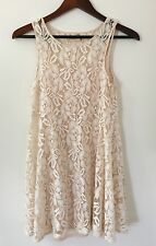 Free People Ivory Miles of Lace Dress Size XS Cream BEAUTIFUL! Forever And Ever