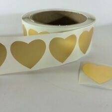 """200 Heart Shaped Stickers on Gold Foil Paper 1 3/8"""" Label Sticker Wedding"""
