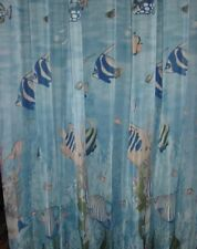 S10 Ocean World Fish Under the Sea Shower Curtain Set Vinyl Liner Plastic Hooks