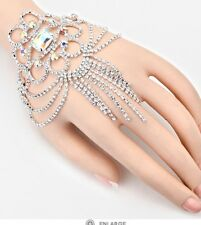 Ab Silver Hand Chain Crystal Clear Rhinestone Costume Pageant Bracelet Wedding