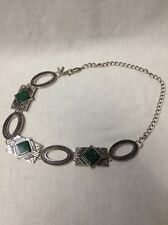 CHICO'S Women's Adjustable Silver Metal Chain Hip Belt Jade Colored Stones 37 In