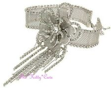 Silver Deco Gatsby Lace Mesh Flower Bridal Choker Necklace w/ Swarovski Crystals