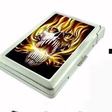 Cigarette Case with Built In Lighter Skull Design-020 Skull On Fire
