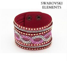 Bracelet large Swarovski® Elements cuir souple pressions qualité rose fushia