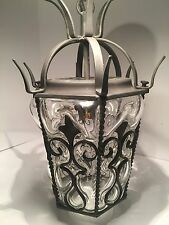 """Vintage Goth Wrought Iron Light Fixture With Bubble Glass 16"""""""