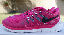 NIKE WOMENS FREE 5.0 SHOES SIZE 6 vivid pink anthracite white grey 642199 602