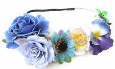 Blue Purple Rose Daisy Pansy Flower Hair Crown Headband Vintage Garland Boho T80