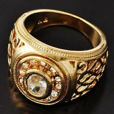 D5411 Special Men's Yellow Gold Filled Clear CZ Ring SZ 9#