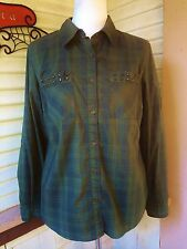 STYLE&CO DARK GREEN PLAID/STUDS STRETCH COTTON SHIRT BLOUSE M STYLE and CO