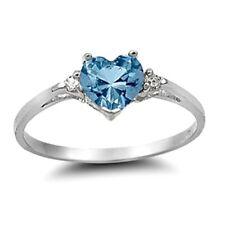 .925 Sterling Silver Ring size 7 CZ Heart cut Aquamarine Midi Ladies New x28