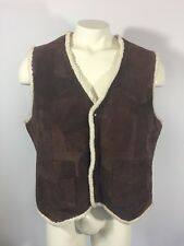 Suede Originals by Altman of Dallas Leather Vest Sherpa Lining Brown Size XL