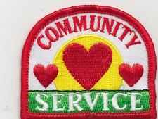 Girl Boy Cub COMMUNITY SERVICE Red Heart Fun Patches Crests Badges SCOUTS GUIDES