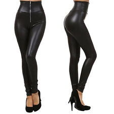 Lady Womens High Waisted Sexy PU Leather Stretch Skinny Pants Slim Leggings Pant