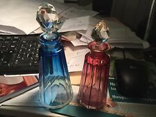 2 antique perfume bottles cut sided cranberry gold glass blue to clear peachblow