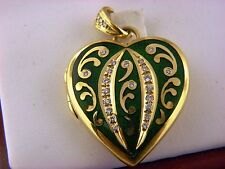 MAGNIFICENT 18K Yellow Gold Authentic Faberge' Heart Locket Diamonds Enamel.