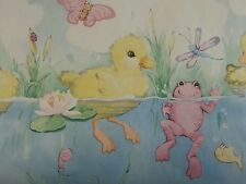 VINTAGE 4 ROLLS LOT IMPERAL VINYL WALLPAPER BORDER DUCKS POND FISH BIRDS FROG