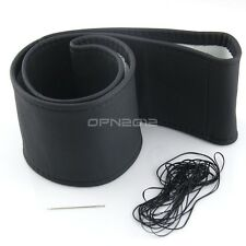 Black Genuine Leather DIY Car Auto Steering Wheel Cover Wrap Housing Needle L