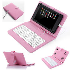 "7"" PU Leather Case Cover USB Keyboard With Stylus for 7"" inch Android Tablet PC"